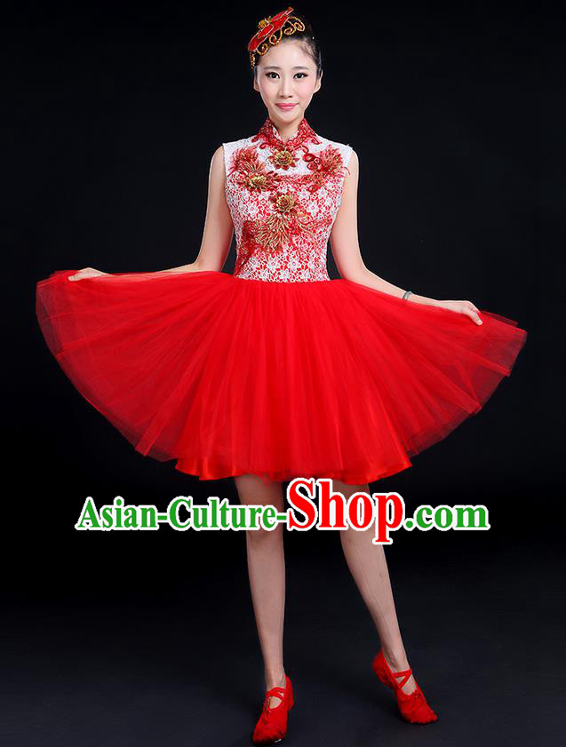 Traditional Chinese Modern Dancing Compere Costume, Women Opening Classic Dance Chorus Singing Group Bubble Gilding Uniforms, Modern Dance Classic Dance Big Swing Red Short Dress for Women