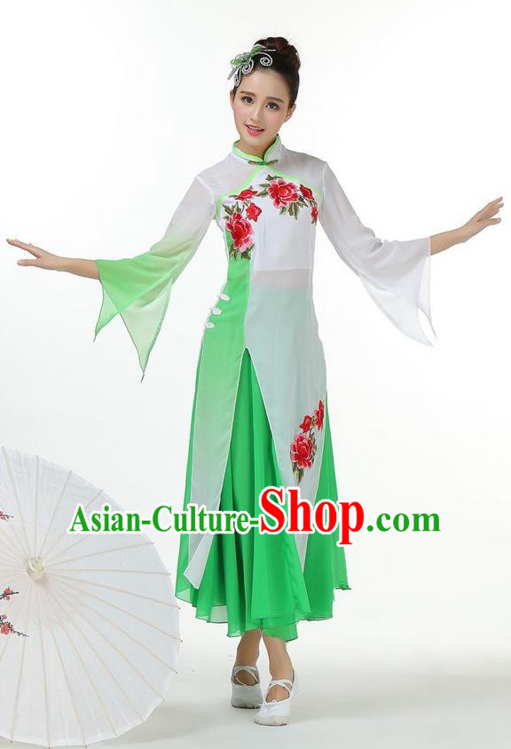 Traditional Chinese Yangge Fan Dancing Costume, Folk Dance Yangko Mandarin Collar Peony Painting Uniforms, Classic Lotus Dance Elegant Big Swing Dress Drum Dance Green Clothing for Women
