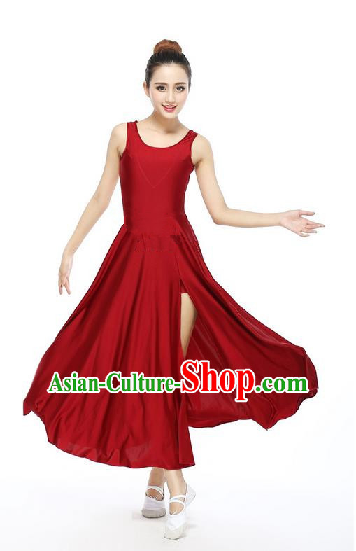 Traditional Modern Dancing Compere Costume, Women Opening Classic Chorus Singing Group Dance Dress, Modern Dance Classic Ballet Dance Wine Red Big Swing Dress for Women