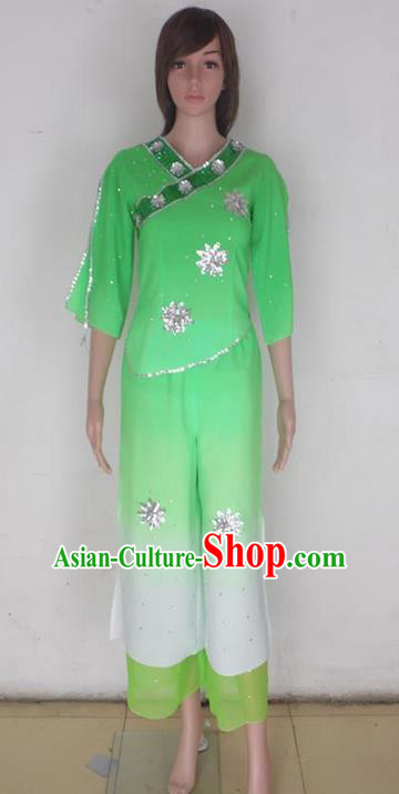 Traditional Chinese Yangge Fan Dancing Costume, Folk Dance Yangko Blouse and Pants Uniforms, Classic Lotus Dance Elegant Dress Drum Dance Green Clothing for Women