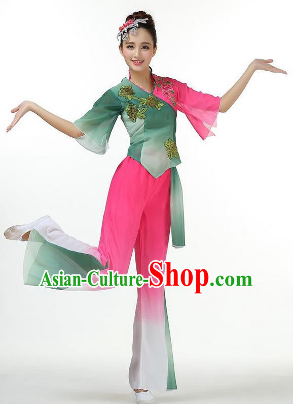 Traditional Chinese Yangge Fan Dancing Costume, Folk Dance Yangko Mandarin Sleeve Blouse and Pants Uniforms, Classic Lotus Dance Elegant Dress Drum Dance Clothing for Women