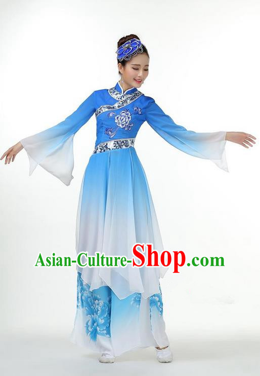 Traditional Chinese Yangge Fan Dancing Costume, Folk Dance Yangko Mandarin Collar Dress and Pants Paillette Peony Uniforms, Classic Umbrella Lotus Dance Elegant Dress Drum Dance Blue Clothing for Women