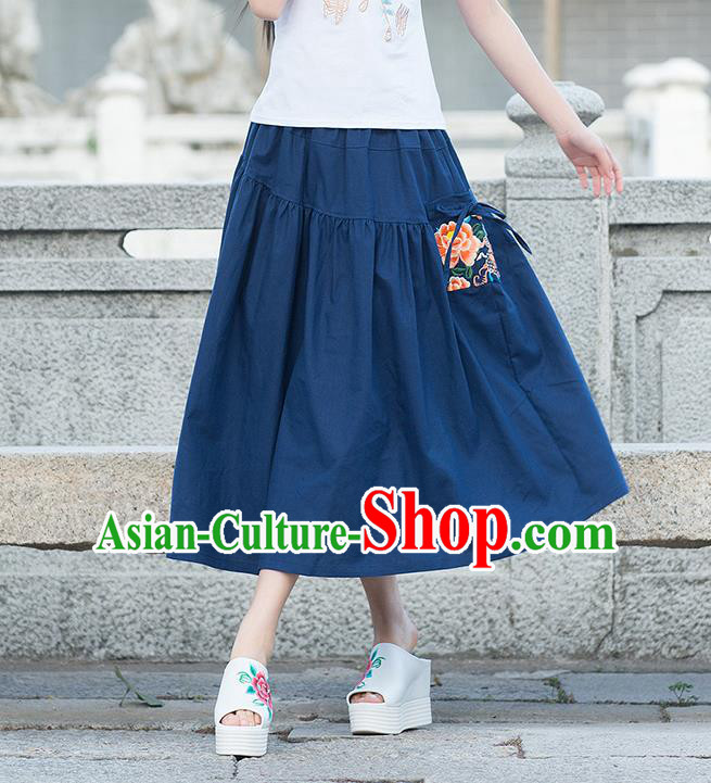Traditional Ancient Chinese National Pleated Skirt Costume, Elegant Hanfu Embroidered Peony Long Dress, China Tang Suit Cotton Blue Bust Skirt for Women