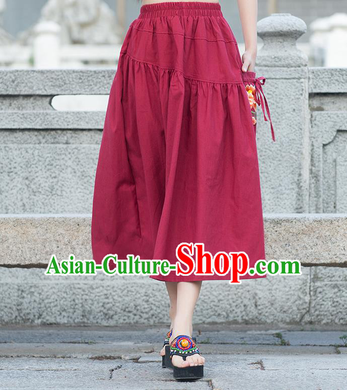 Traditional Ancient Chinese National Pleated Skirt Costume, Elegant Hanfu Embroidered Peony Long Dress, China Tang Suit Cotton Red Bust Skirt for Women
