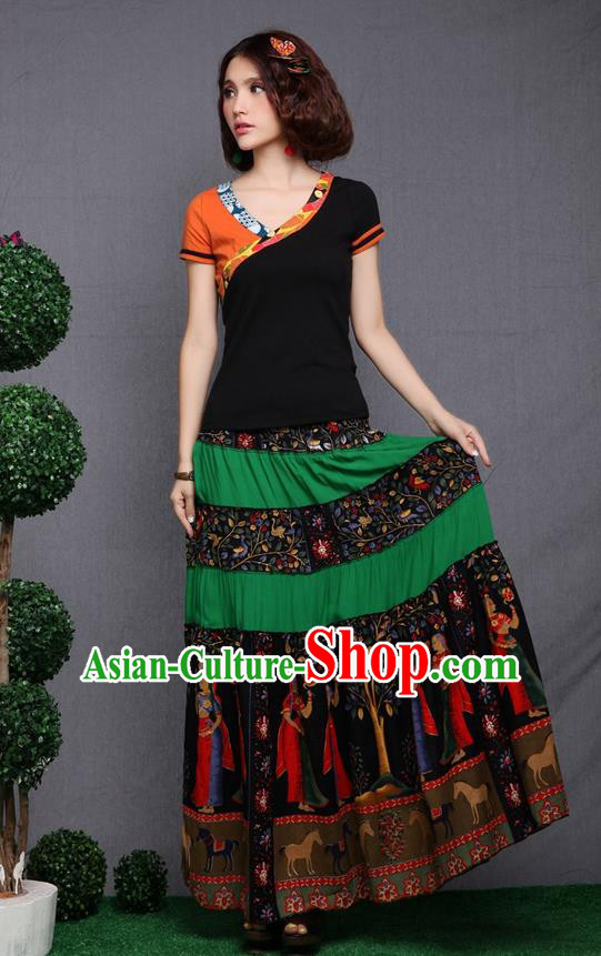 Traditional Ancient Chinese National Pleated Skirt Costume, Elegant Hanfu Printing Pleated Long Dress, China National Minority Tang Suit Cotton Green Bust Skirt for Women