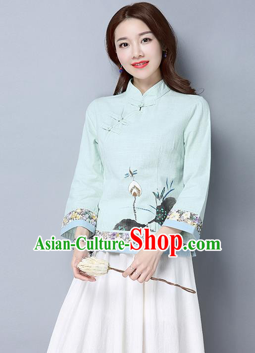 Traditional Ancient Chinese National Costume, Elegant Hanfu Stand Collar Plated Buttons Qipao T-Shirt, China Tang Suit Ink Painting Light Blue Blouse Cheongsam Upper Outer Garment Shirts Clothing for Women