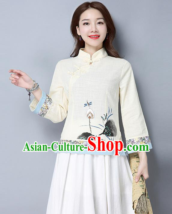 Traditional Ancient Chinese National Costume, Elegant Hanfu Stand Collar Plated Buttons Qipao T-Shirt, China Tang Suit Ink Painting Apricot Blouse Cheongsam Upper Outer Garment Shirts Clothing for Women