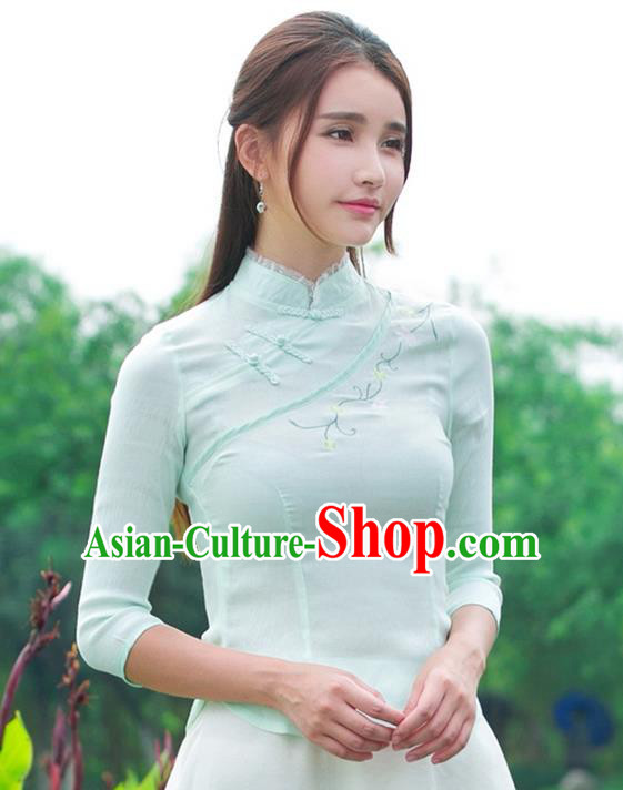 Traditional Ancient Chinese National Costume, Elegant Hanfu Embroidered Flowers Light Green Shirt, China Tang Suit Mandarin Collar Blouse Cheongsam Qipao Shirts Clothing for Women