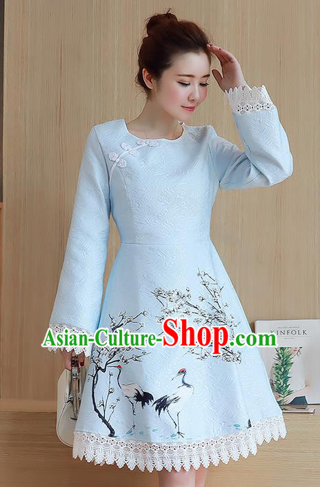 Traditional Ancient Chinese National Costume, Elegant Hanfu Mandarin Sleeve Dress, China Tang Suit Cheongsam Upper Outer Garment Elegant Lace Edge Dress Clothing for Women