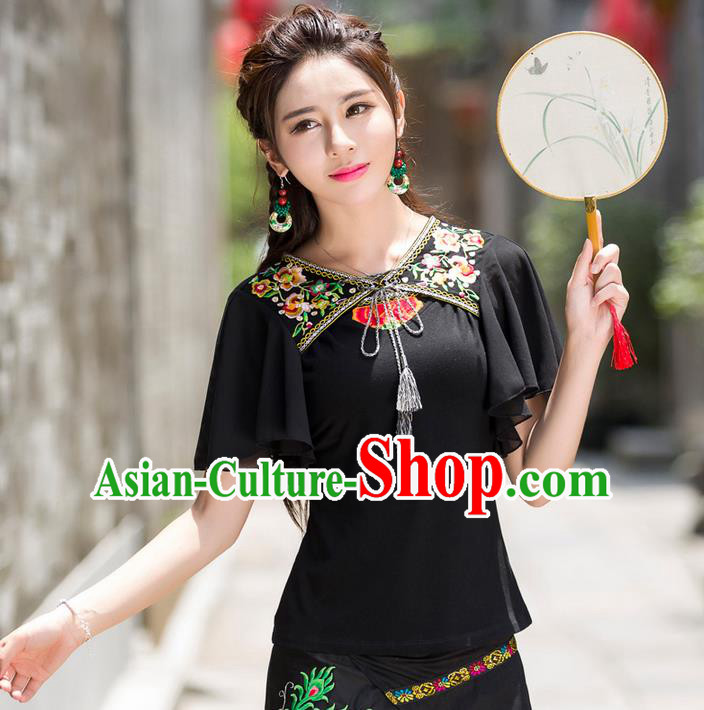 Traditional Ancient Chinese National Costume, Elegant Hanfu Embroidered Flowers T-Shirt, China Tang Suit Lotus Sleeve Chiffon Blouse Cheongsam Qipao Shirts Clothing for Women