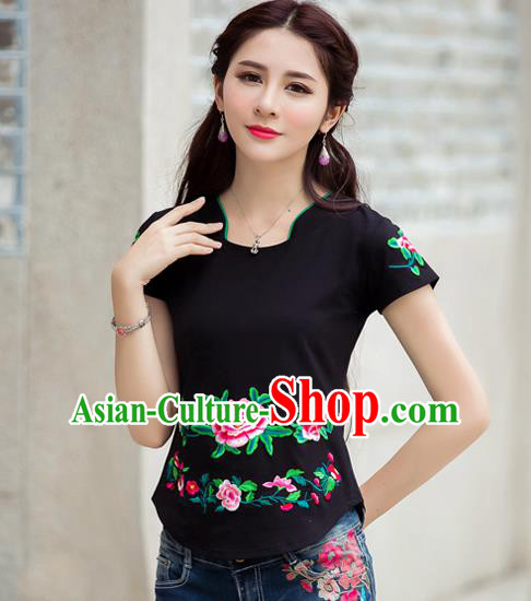 Traditional Ancient Chinese National Costume, Elegant Hanfu Embroidered Peony Flowers Mandarin Collar T-Shirt, China Tang Suit Black Blouse Cheongsam Qipao Shirts Clothing for Women