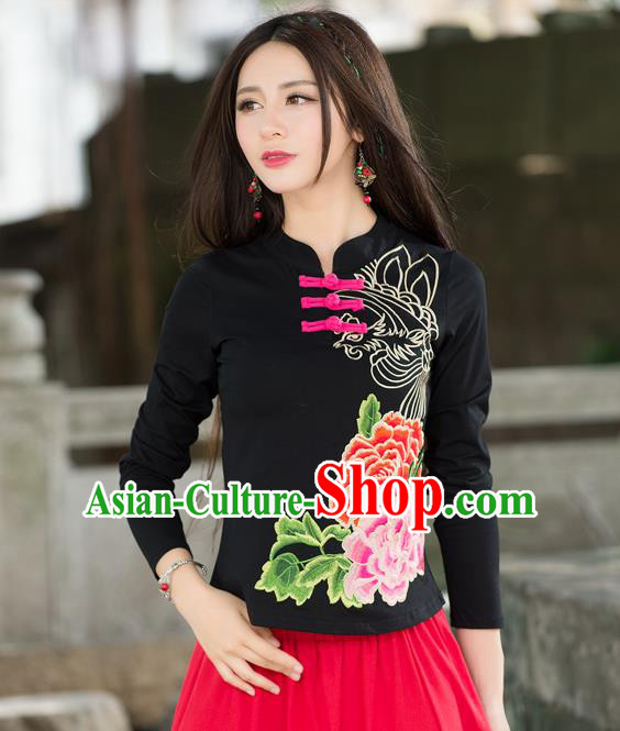Traditional Ancient Chinese National Costume, Elegant Hanfu Embroidered Peony Flowers Plated Buttons T-Shirt, China Tang Suit Mandarin Collar Black Blouse Cheongsam Qipao Base Shirts Clothing for Women