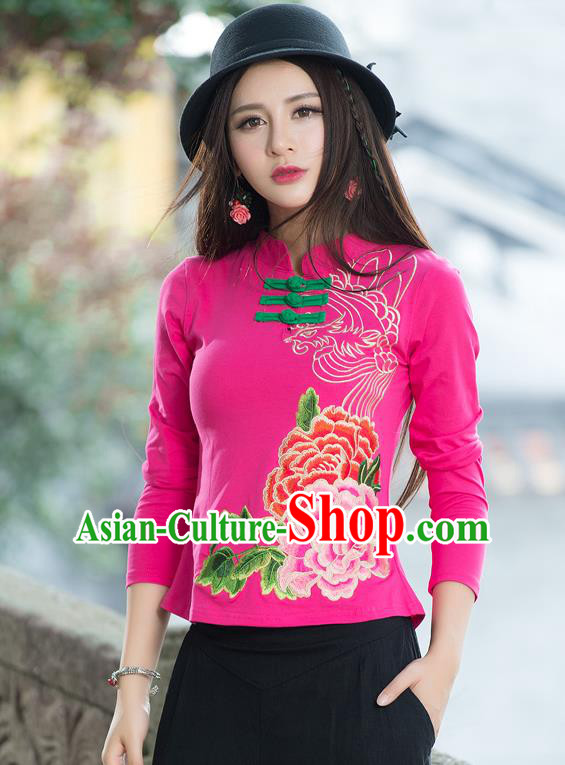Traditional Ancient Chinese National Costume, Elegant Hanfu Embroidered Peony Flowers Plated Buttons T-Shirt, China Tang Suit Mandarin Collar Pink Blouse Cheongsam Qipao Base Shirts Clothing for Women