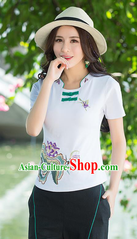 Traditional Ancient Chinese National Costume, Elegant Hanfu Embroidered Lotus Flowers Base Shirt, China Tang Suit Plated Buttons White Blouse Cheongsam Qipao Shirts Clothing for Women
