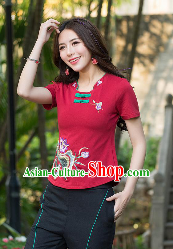 Traditional Ancient Chinese National Costume, Elegant Hanfu Embroidered Lotus Flowers Base Shirt, China Tang Suit Plated Buttons Red Blouse Cheongsam Qipao Shirts Clothing for Women