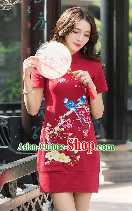 Traditional Ancient Chinese National Costume, Elegant Hanfu Mandarin Sleeve Dress, China Tang Suit Embroidered Cheongsam Upper Outer Garment Elegant Red Dress Clothing for Women