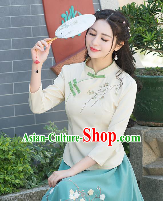 Traditional Ancient Chinese National Costume, Elegant Hanfu Embroidered Flowers Shirt, China Tang Suit Mandarin Collar Blouse Cheongsam Qipao Shirts Clothing for Women