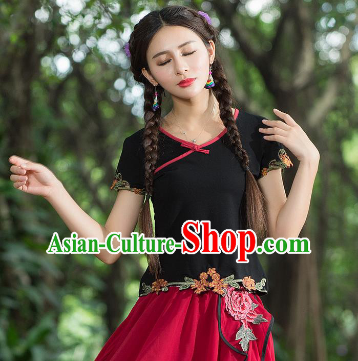 Traditional Ancient Chinese National Costume, Elegant Hanfu Embroidered Flowers Lower Hem Shirt, China Tang Suit Blouse Cheongsam Qipao Shirts Clothing for Women