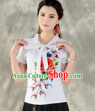 Traditional Ancient Chinese National Costume, Elegant Hanfu Embroidered Peony Halter Tops White T-Shirt, China Tang Suit Short Sleeve Blouse Cheongsam Qipao Shirts Clothing for Women