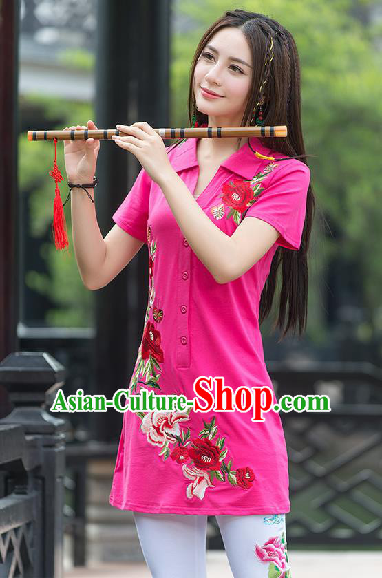 Traditional Ancient Chinese National Costume, Elegant Hanfu Embroidered Peony Flowers Pink Long T-Shirt, China Tang Suit Blouse Cheongsam Qipao Shirts Clothing for Women