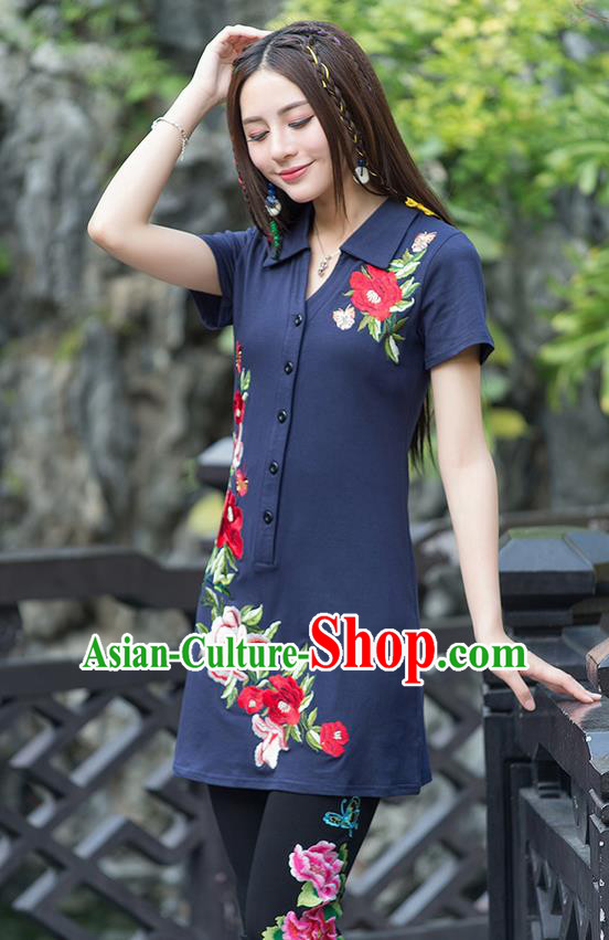 Traditional Ancient Chinese National Costume, Elegant Hanfu Embroidered Peony Flowers Navy Long T-Shirt, China Tang Suit Blouse Cheongsam Qipao Shirts Clothing for Women