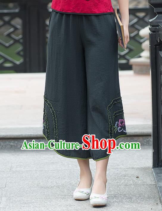 Traditional Chinese National Costume Pants, Elegant Hanfu Embroidered Black Trousers, China Ethnic Minorities Tang Suit Pantalettes for Women