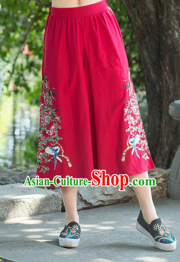 Traditional Chinese National Costume Pantskirt, Elegant Hanfu Embroidered Red Loose Pants, China Ethnic Minorities Tang Suit Ultra-Wide-Leg Trousers for Women