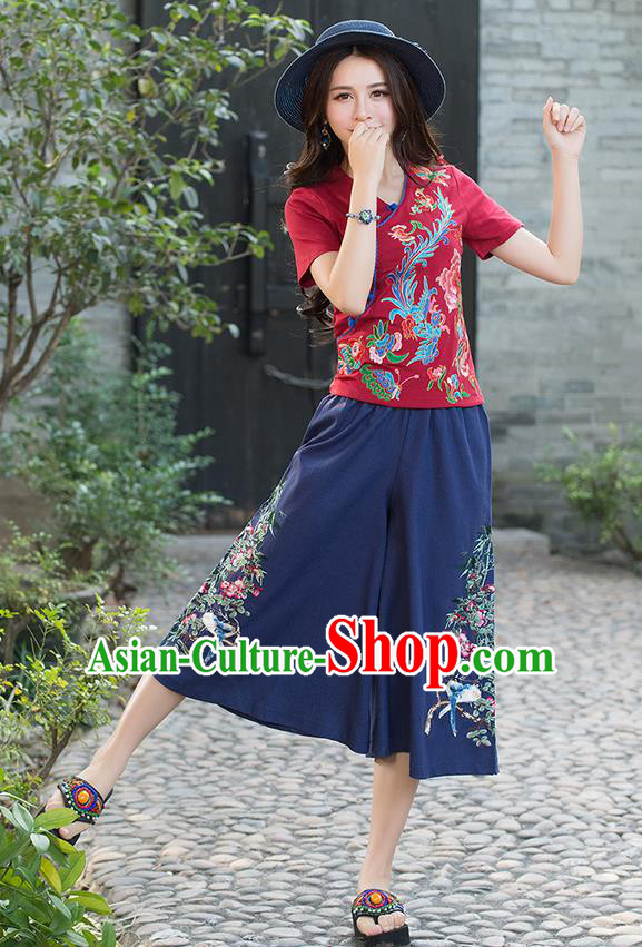 Traditional Chinese National Costume Pantskirt, Elegant Hanfu Embroidered Navy Loose Pants, China Ethnic Minorities Tang Suit Ultra-Wide-Leg Trousers for Women