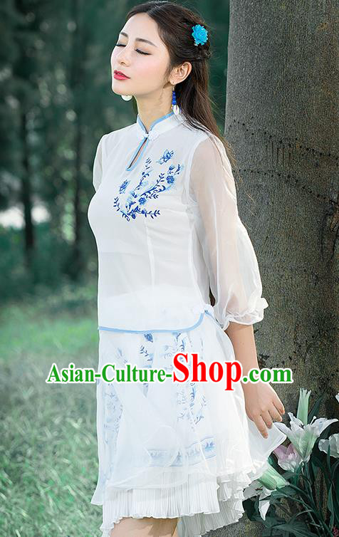 Traditional Ancient Chinese National Pleated Skirt Costume, Elegant Hanfu Painting Chiffon Short Dress, China Tang Suit Bust Skirt for Women