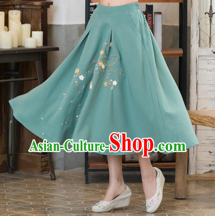 Traditional Ancient Chinese National Pleated Skirt Costume, Elegant Hanfu Embroidered Long Dress, China Tang Suit Green Bust Skirt for Women