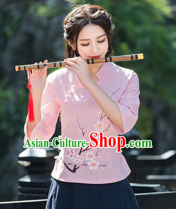 Traditional Ancient Chinese National Costume, Elegant Hanfu Embroidered Peach Flower Pink Shirt, China Ming Dynasty Tang Suit Blouse Cheongsam Qipao Shirts Clothing for Women