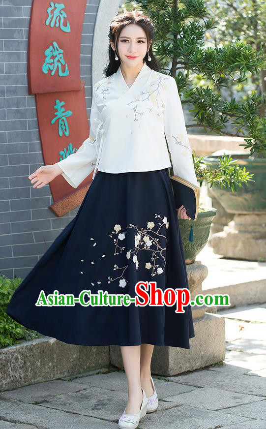 Traditional Chinese National Pleated Skirt Costume, Elegant Hanfu Embroidered Plum Blossom Long Navy Dress, China Tang Suit Bust Skirt for Women