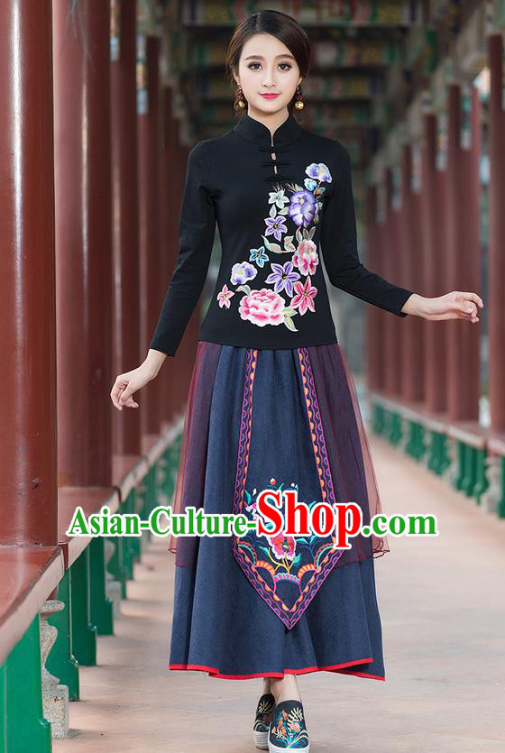 Traditional Chinese National Costume, Elegant Hanfu Embroidery Flowers Stand Collar Black T-Shirt, China Tang Suit Plated Buttons Blouse Cheongsam Upper Outer Garment Qipao Shirts Clothing for Women