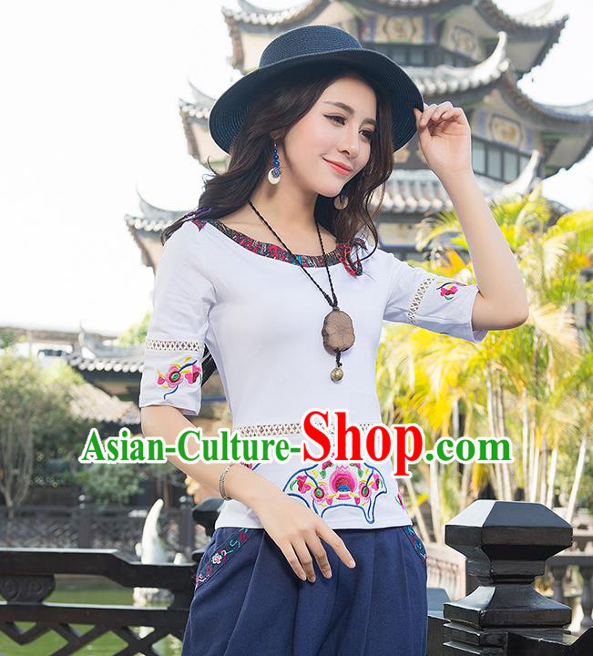 Traditional Chinese National Costume, Elegant Hanfu Embroidery Flowers White T-Shirt, China National Minority Tang Suit Blouse Cheongsam Upper Outer Garment Qipao Shirts Clothing for Women