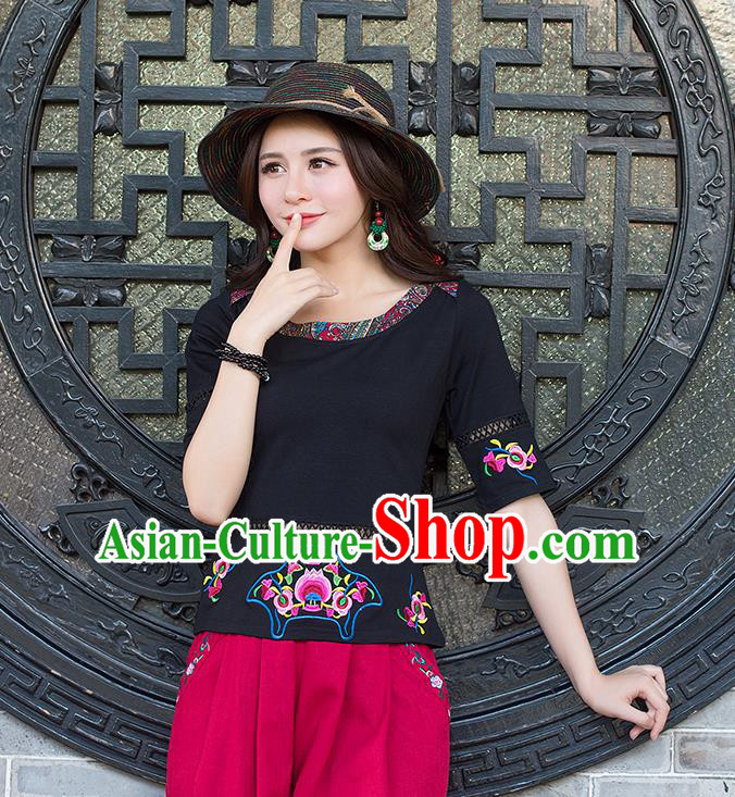 Traditional Chinese National Costume, Elegant Hanfu Embroidery Flowers Black T-Shirt, China National Minority Tang Suit Blouse Cheongsam Upper Outer Garment Qipao Shirts Clothing for Women