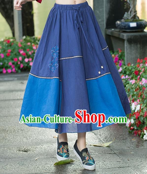 Traditional Ancient Chinese National Pleated Skirt Costume, Elegant Hanfu Embroidered Dress, China Tang Suit National Minority Retro Bust Skirt for Women