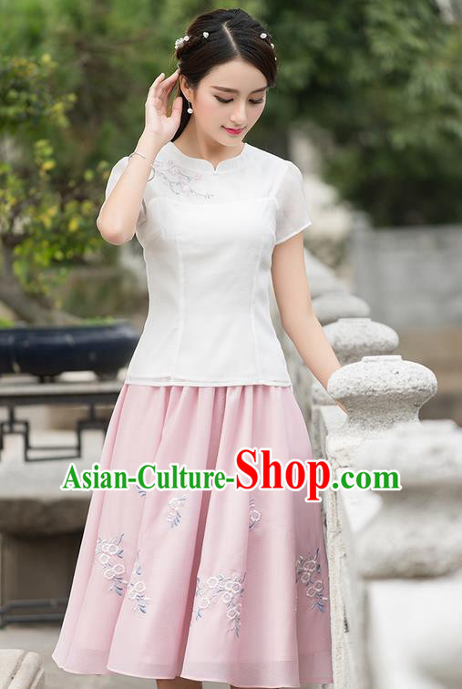Traditional Ancient Chinese National Pleated Skirt Costume, Elegant Hanfu Embroidered Organza Long Dress, China Tang Suit Pink Bust Skirt for Women