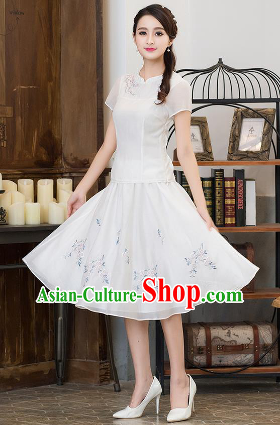 Traditional Ancient Chinese National Pleated Skirt Costume, Elegant Hanfu Embroidered Organza Long Dress, China Tang Suit White Bust Skirt for Women