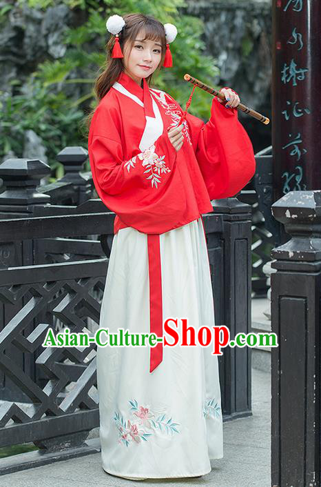 Traditional Ancient Chinese Costume, Elegant Hanfu Clothing Embroidered Red Blouse and Dress, China Han Dynasty Elegant Slant Opening Blouse and Skirt Complete Set for Women