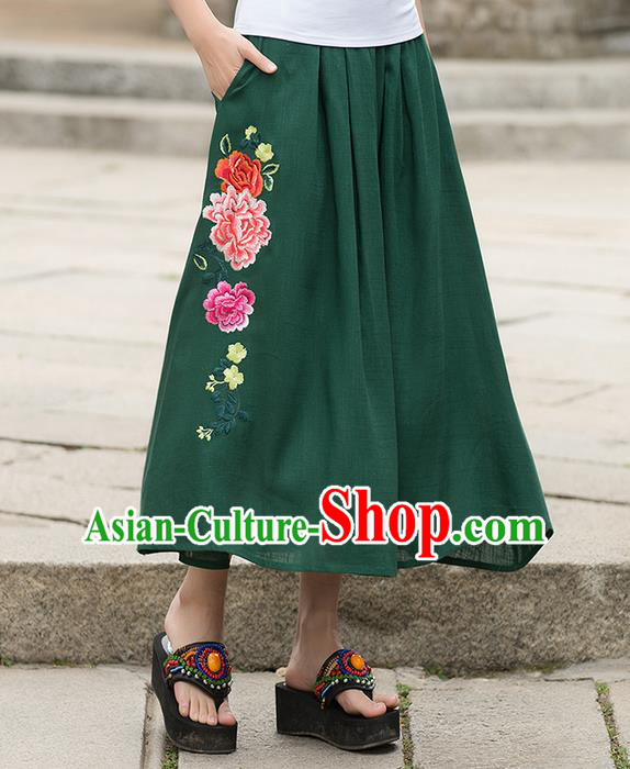 Traditional Ancient Chinese National Pleated Skirt Costume, Elegant Hanfu Embroidered Green Long Dress, China Tang Suit Palace Lady Big Swing Bust Skirt for Women