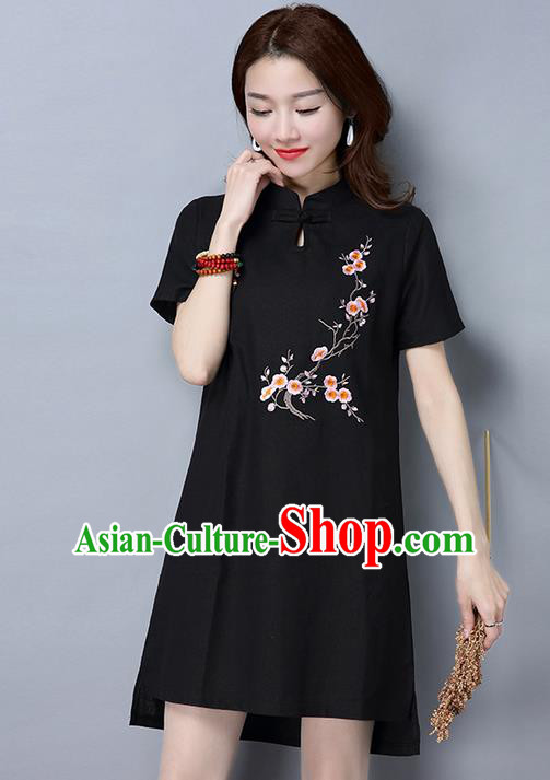 Traditional Ancient Chinese National Costume, Elegant Hanfu Mandarin Qipao Linen Embroidered Black Dress, China Tang Suit Chirpaur Republic of China Cheongsam Upper Outer Garment Elegant Dress Clothing for Women