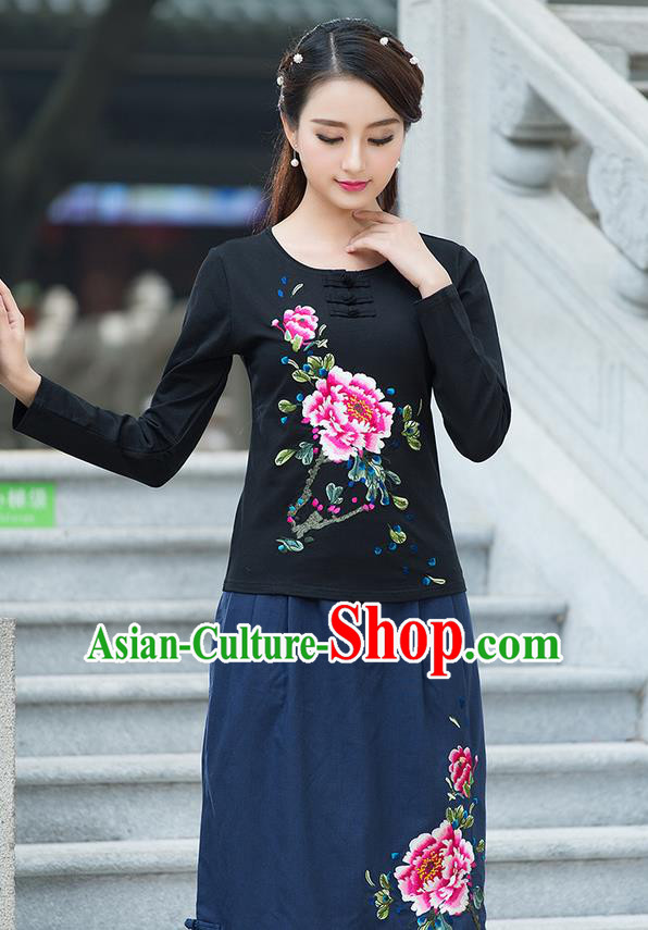 Traditional Chinese National Costume, Elegant Hanfu Embroidery Flowers Mandatin Collar Black T-Shirt, China Tang Suit Plated Buttons Blouse Cheongsam Upper Outer Garment Qipao Shirts Clothing for Women