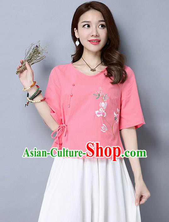 Traditional Chinese National Costume, Elegant Hanfu Embroidery Pink T-Shirt, China Tang Suit Republic of China Plated Buttons Blouse Cheongsam Upper Outer Garment Qipao Shirts Clothing for Women