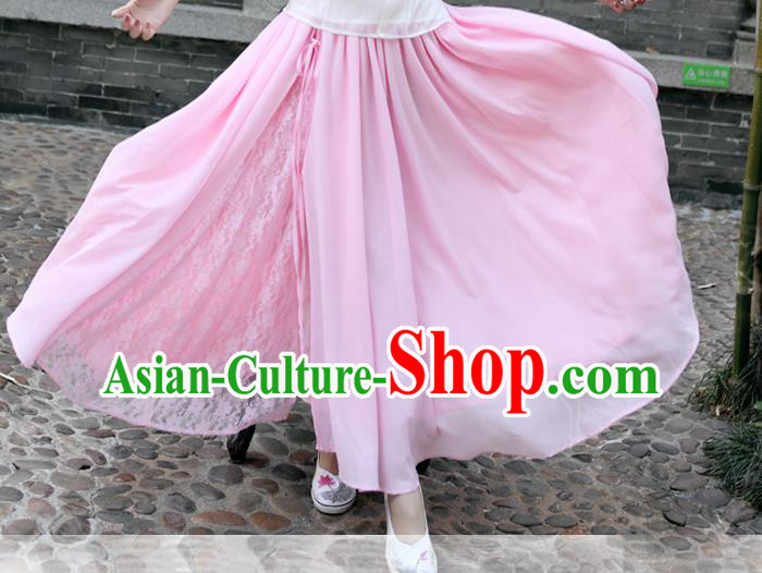 Traditional Ancient Chinese National Pleated Skirt Costume, Elegant Hanfu Chiffon Lace Long Dress, China Tang Suit Big Swing Pink Bust Skirt for Women