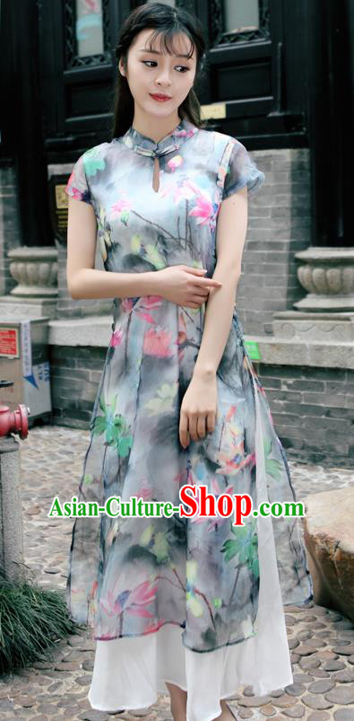 Traditional Ancient Chinese National Costume, Elegant Hanfu Mandarin Qipao Silk Ink Painting Dress, China Tang Suit Chirpaur Republic of China Cheongsam Upper Outer Garment Elegant Dress Clothing for Women