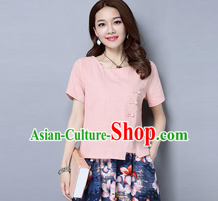 Traditional Chinese National Costume, Elegant Hanfu Slant Opening Pink T-Shirt, China Tang Suit Republic of China Plated Buttons Blouse Cheongsam Upper Outer Garment Qipao Shirts Clothing for Women