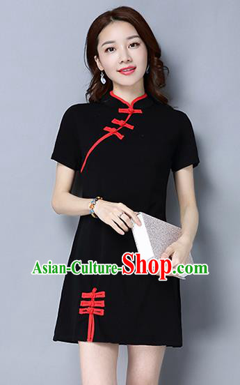 Traditional Ancient Chinese National Costume, Elegant Hanfu Mandarin Qipao Linen Black Dress, China Tang Suit Plated Buttons Short Chirpaur Republic of China Cheongsam Upper Outer Garment Elegant Dress Clothing for Women