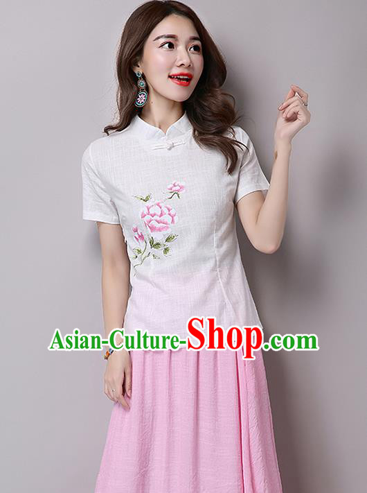 Traditional Chinese National Costume, Elegant Hanfu Printing Flowers Slant Opening White T-Shirt, China Tang Suit Republic of China Plated Buttons Blouse Cheongsam Upper Outer Garment Qipao Shirts Clothing for Women