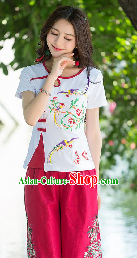 Traditional Chinese National Costume, Elegant Hanfu Embroidery Flowers Birds White T-Shirt, China Tang Suit Republic of China Plated Buttons Blouse Cheongsam Upper Outer Garment Qipao Shirts Clothing for Women