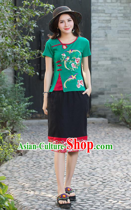 Traditional Chinese National Costume, Elegant Hanfu Embroidery Flowers Birds Green T-Shirt, China Tang Suit Republic of China Plated Buttons Blouse Cheongsam Upper Outer Garment Qipao Shirts Clothing for Women